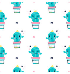 cactus seamless pattern print design with slogan vector image