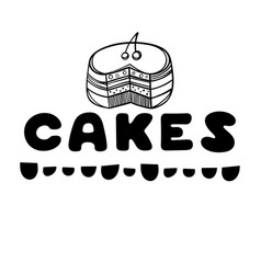 Cakes cover for cafe sketch concept vector