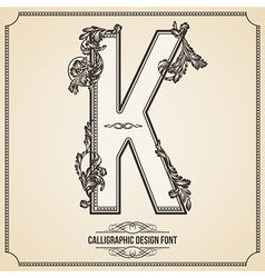 Calligraphic font Letter K vector