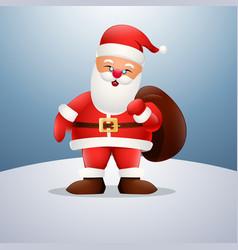 cartoon happy santa claus holding a bag vector image