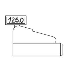 cash register icon in monochrome silhouette vector image