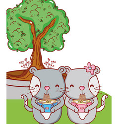 Cats and food kawaii cartoons vector