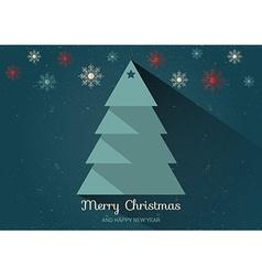 Christmas card with Christmas tree Flat design vector image
