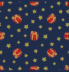 christmass patch logo gift mistletoe seamless vector image