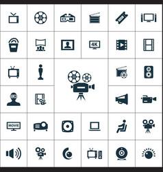 cinema icons universal set vector image
