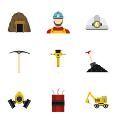 coal mine icons set flat style vector image