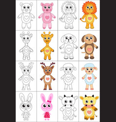 Coloring book page set animals collection sketch vector