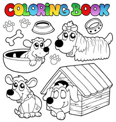 coloring book with cute dogs vector image