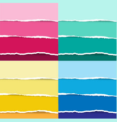 colorul and pastel torn paper set vector image