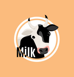 cow head flat logo template vector image