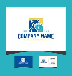 Creative pet logo design with a business card vector