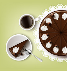 cutting chocolate cake vector image