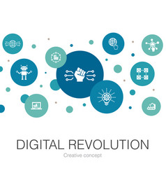 Digital revolution trendy circle template with vector