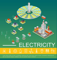 electricity production and distribution template vector image