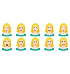 Emotions female face set vector