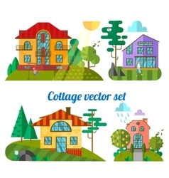 Flat houses vector