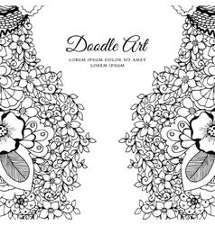 floral frame Zen Tangle vector image