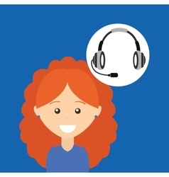 Girl curly hair headphones for support vector