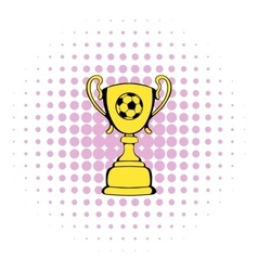 Golden soccer trophy cup icon comics style vector image