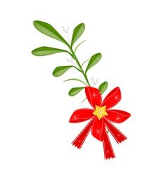 Green Mistletoe with A Red Bow and Golden Bells vector