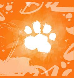 grunge dog food print over orange background vector image