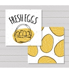 Hand drawn colorful card farm fresh eggs chickens vector image