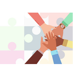 Hands diverse group people putting together vector