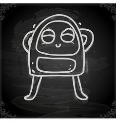 Happy Alien Drawing on Chalk Board vector