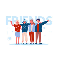 happy best friends hugging vector image