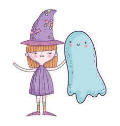Happy halloween celebration girl with hat costume vector
