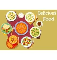 Healthy lunch with pie icon for food theme design vector