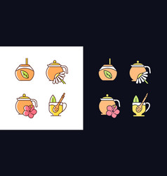 Herbal tea light and dark theme rgb color icons vector