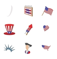 Independence of USA icons set cartoon style vector