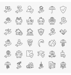 Insurance Line Art Design Icons Big Set vector image
