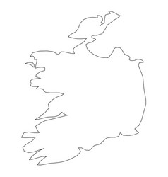ireland - solid black outline border map of vector image