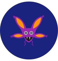 isolated cute cartoon alien monster on a blue vector image