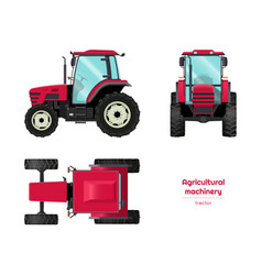isolated tractor side front top view vector image
