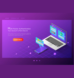 isometric web banner two steps verification vector image