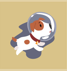 Jack russell puppy astronaut character flying in vector
