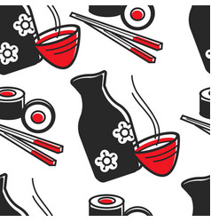 japanese food and drink green tea and sushi vector image