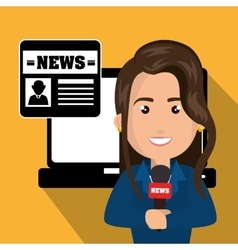 Journalist woman and news icons vector