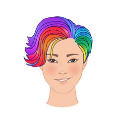 Lgbt person with rainbow hair non binary asian vector