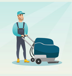 man cleaning the store floor with a machine vector image