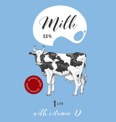 milk label design with hand drawn cow vector image