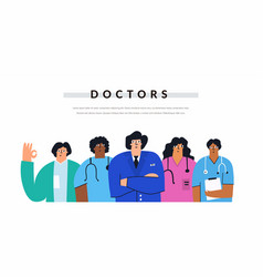multicultural group positive doctors and nurses vector image