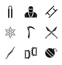 Ninja arsenal icons set simple style vector