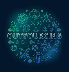 outsourcing round colored outline vector image