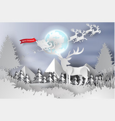 paper art and craft of merry christmas vector image