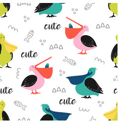 pattern with cute cartoon pelicans vector image