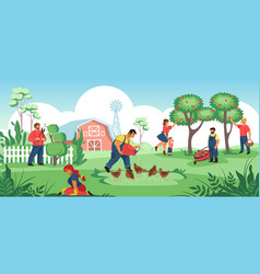 People in garden cartoon farmers and gardeners vector